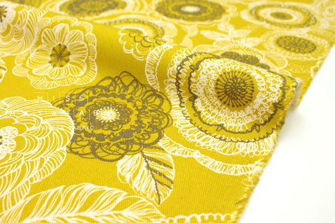 Japanese Fabric Nordic Flowers - yellow - 50cm