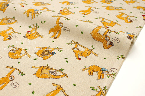 Japanese Fabric Sloths canvas - natural - 50cm