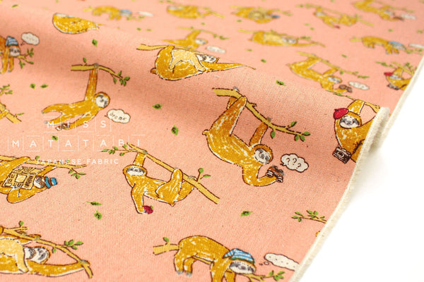 Japanese Fabric Sloths canvas - pink - 50cm