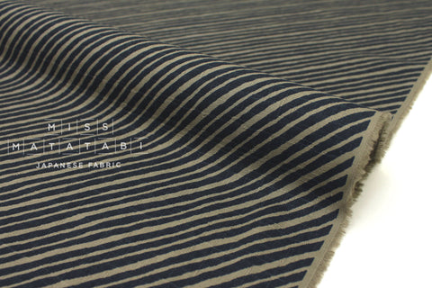 Japanese Fabric Diagonal Stripes Dobby - dark navy, olive - 50cm