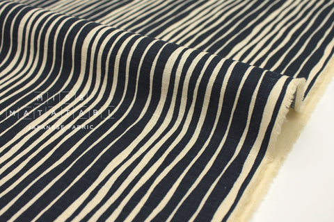 Japanese Fabric Stripes Dobby - dark navy blue - 50cm