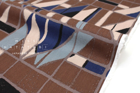 Japanese Fabric Windows Brushed Rayon Twill - chocolate, blue, black - 50cm