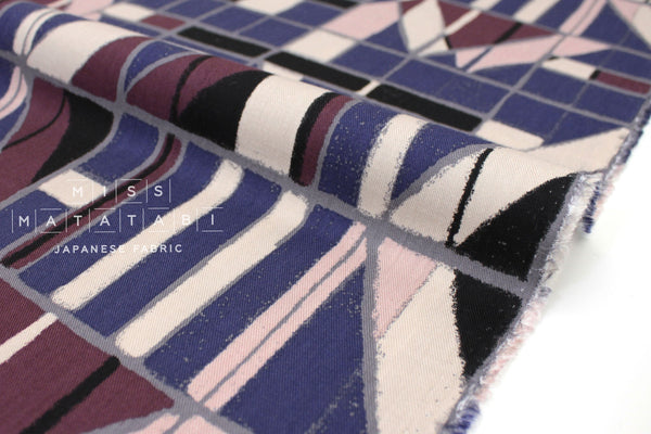 Japanese Fabric Windows Brushed Rayon Twill - blue, black, lilac - 50cm