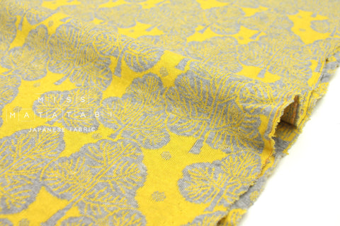 Japanese Fabric Trees reversible double knit - grey, yellow - 50cm