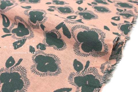 Japanese Fabric Flowers reversible double knit - peach, green - 50cm