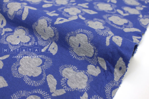 Japanese Fabric Flowers reversible double knit - blue, grey - 50cm