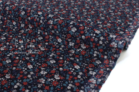 Japanese Fabric Corduroy Dainty Floral - navy blue, red, grey - 50cm