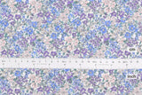 Japanese Fabric Dense Floral cotton lawn - blue, lilac - 50cm