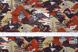 Japanese Fabric Postcards from Japan Dobby - red, peach, maroon - 50cm