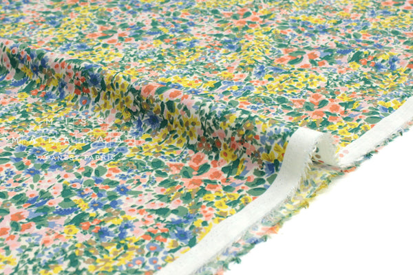 Japanese Fabric Garden Rayon Twill - green, yellow, blue, pink - 50cm