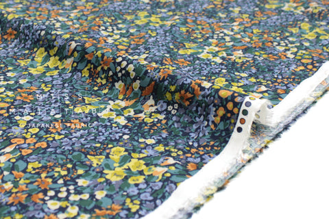 Japanese Fabric Garden Rayon Twill - navy, green, burnt orange - 50cm