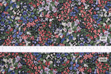 Japanese Fabric Garden Rayon Twill - black, green, pink - 50cm