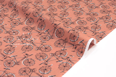Japanese Fabric Bikes cotton lawn - clay - 50cm