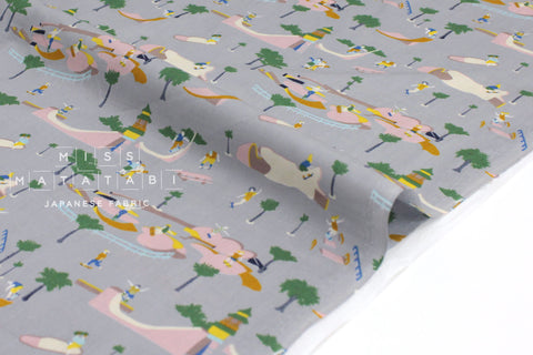 Japanese Fabric Skate Park cotton lawn - grey - 50cm