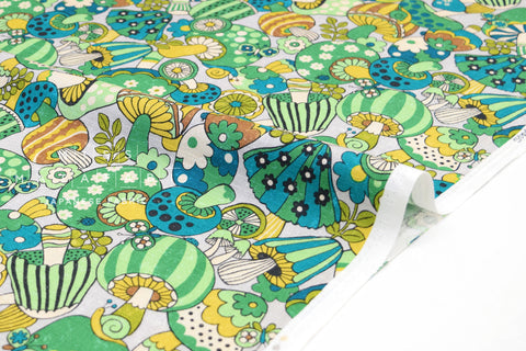 Japanese Fabric Sopo Retro Mushrooms - green - 50cm