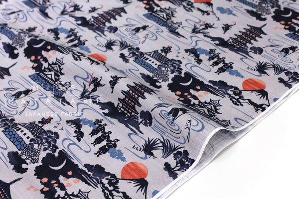 Japanese Fabric Ninja Dobby - grey, blue - 50cm