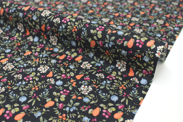 Japanese Fabric Pear and Pomegranate cotton lawn - black - 50cm