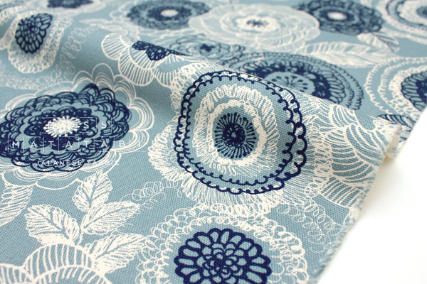 Japanese Fabric Nordic Flowers - blue - 50cm