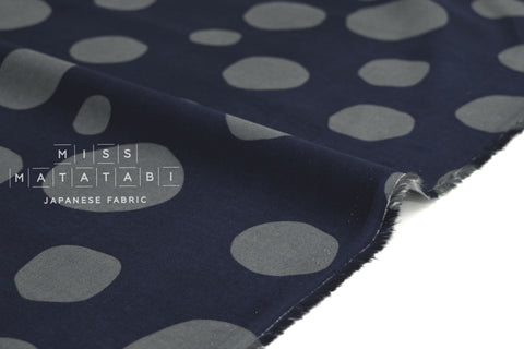 Japanese Fabric Corduroy Bubbles - navy, grey - 50cm