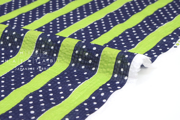 Japanese Fabric Cotton Seersucker Stripes and Dots - green, navy - 50cm