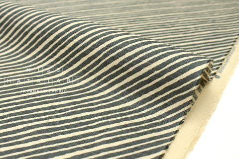 Japanese Fabric Diagonal Stripes Dobby - green grey - 50cm