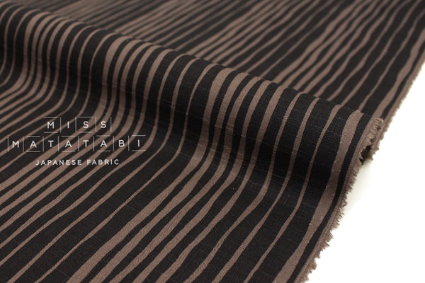Japanese Fabric Stripes Dobby - eggplant brown - 50cm