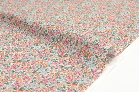 Japanese Fabric Dense Floral cotton lawn - pink, peach - 50cm
