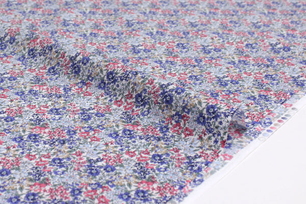 Japanese Fabric Dense Floral cotton lawn - blue, red - 50cm