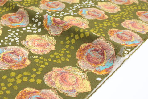 Japanese Fabric Kokka Keshiki Flower Cabbage Farm - D - 50cm