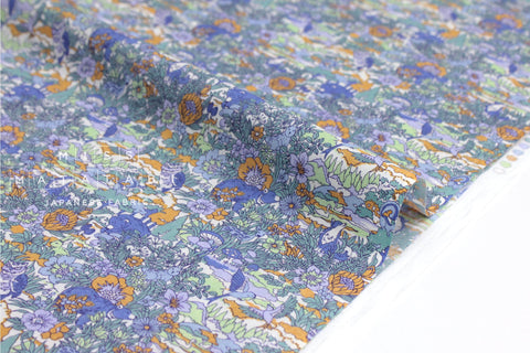 Japanese Fabric Forest cotton lawn - blue, orange, green  - 50cm