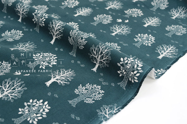 Japanese Fabric Corduroy Tree and Bird - teal green - 50cm