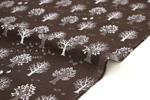 Japanese Fabric Corduroy Tree and Bird - cocoa brown - 50cm