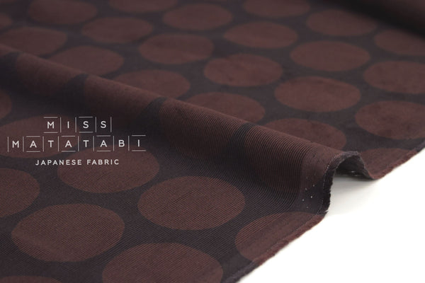 Japanese Fabric Corduroy Dots - wine chocolate - 50cm