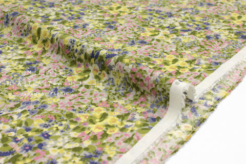 Japanese Fabric Garden Rayon Twill - chartreuse, lilac, pink - 50cm