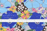 Japanese Fabric Sopo Retro Flowers - blue - 50cm