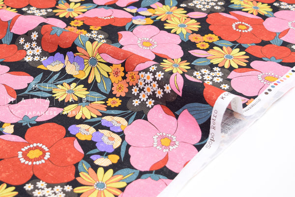 Japanese Fabric Sopo Retro Flowers - black, pink, red - 50cm