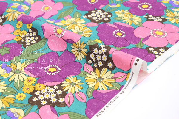 Japanese Fabric Sopo Retro Flowers - teal, pink - 50cm