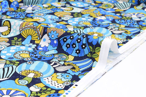 Japanese Fabric Sopo Retro Mushrooms - blue - 50cm