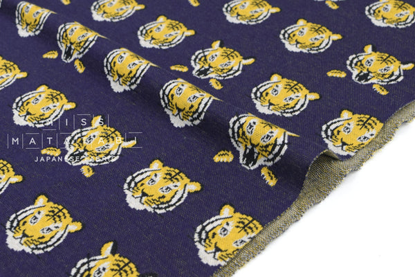 Japanese Fabric Kokka Tigers Knit - navy blue - 50cm