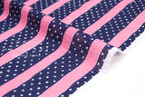 Japanese Fabric Cotton Seersucker Stripes and Dots - pink, navy - 50cm