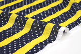 Japanese Fabric Cotton Seersucker Stripes and Dots - yellow, navy - 50cm
