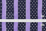 Japanese Fabric Cotton Seersucker Stripes and Dots - lilac, navy - 50cm