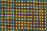Japanese Fabric Kokka Check Check Check - teal, brown - 50cm