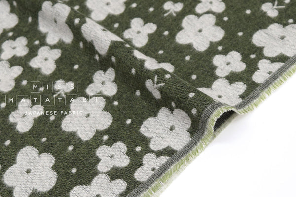 Japanese Fabric Kokka Flowers Jacquard - green - 50cm