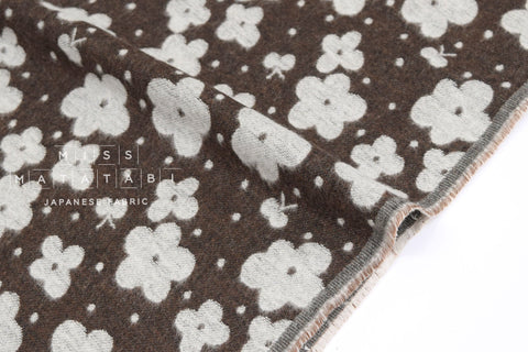 Japanese Fabric Kokka Flowers Jacquard - chocolate - 50cm