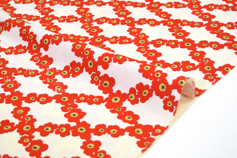 Japanese Fabric Flower Vines canvas - red -  50cm