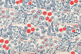 Japanese Fabric Wildflowers Canvas - blue, red - 50cm