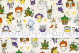 Japanese Fabric Halloween Cats - off white - 50cm