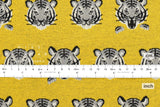 Japanese Fabric Kokka Tigers Knit - mustard yellow, grey - 50cm