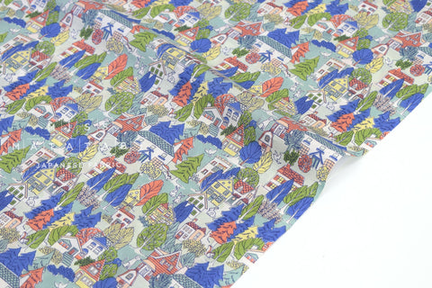Japanese Fabric Bunny Town cotton lawn - red, blue, green - 50cm